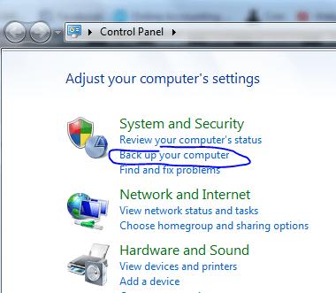 control panel backup
