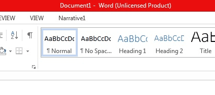 Office 365 Word Unlicenced product