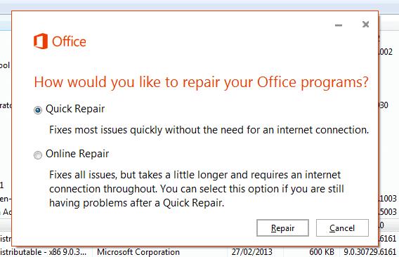 office 365 repair