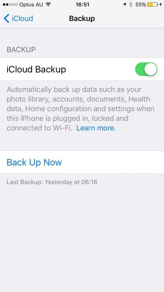 Backing up iPhone or iPad using iCloud