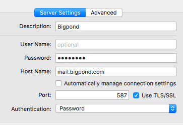 Bigpond setup on mac Mail