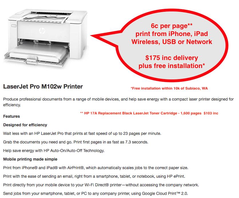 Mono Printer - HP Laserjet Pro M102w