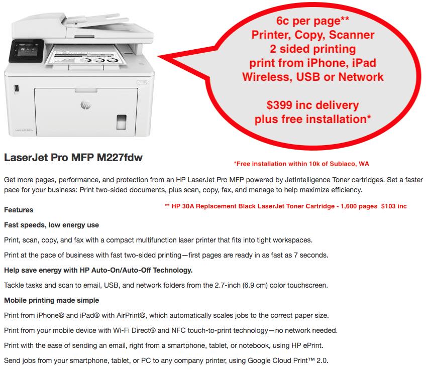 Mono MFP (Printer, Copier, Scanner, Fax) - HP Laserjet Pro MFP M227fdw