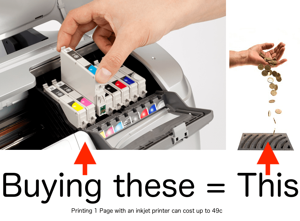 Buying inkjet refills is like pouring money down the drain