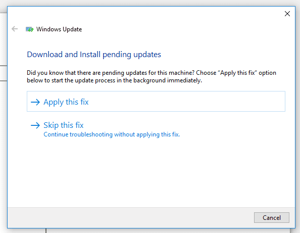 apply windows update fixes
