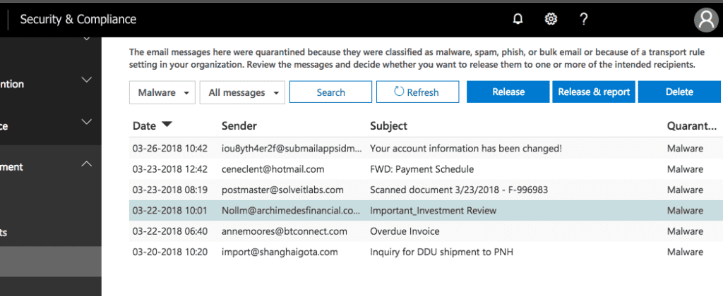 Emails held in Quarantine containing Malware