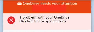 onedrive needs your attention