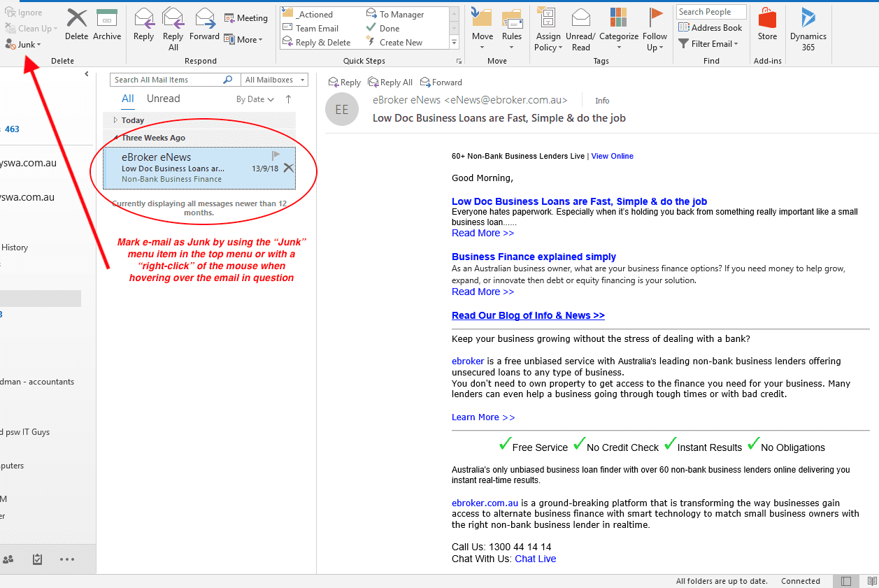 mark emails as junk or spam