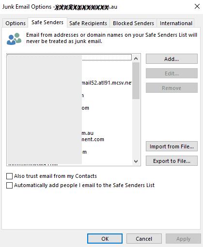safe sender list