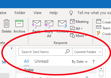 Where did the Outlook search go?