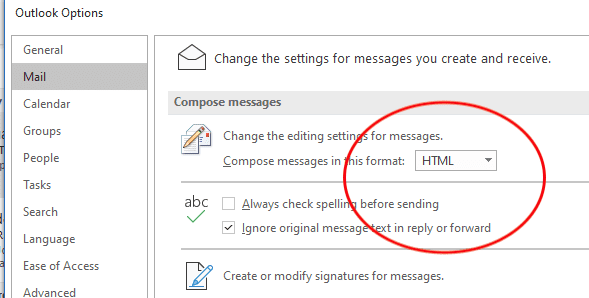 office 365 Outlook default email set. Winmail.dat